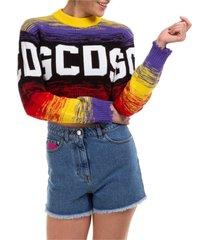 maglione maglia donna girocollo logo crop