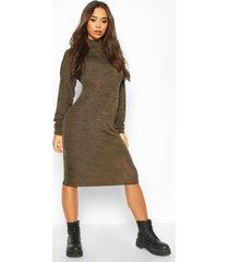 marl high neck midi dress, khaki