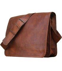 new men's vintage brown leather full flap messenger laptop satchel shoulder bag