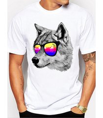 hombres summer casual colorful wolf animal print t-shirt
