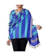 silk shawl, 'striped shimmer in lapis' (india)