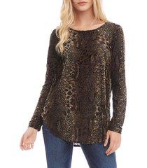women's karen kane velvet burnout shirttail top, size x-large - brown