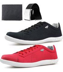 kit 2 pares sapatenis neway sw preto + vermelho + cinto + carteira - preto - masculino - dafiti
