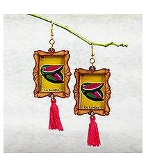 wood dangle earrings, 'slice of refreshment' (mexico)