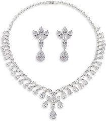 jennifer rhodium-plated & crystal earrings & necklace jewelry set