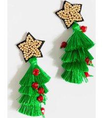 christmas tree tiered tassel earrings - green