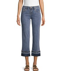 wide-leg frayed jeans