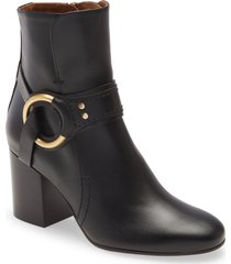 women's chloe demi ring detail bootie, size 9us - black