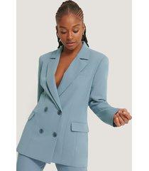 romy x na-kd oversize blazer med fickor med lock - blue