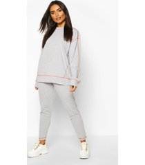 contrast stitch t-shirt and legging set, grey