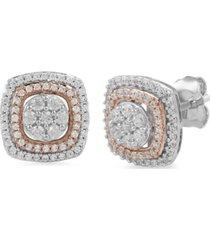 diamond halo cluster stud earrings (1/2 ct. t.w.) in 10k white & rose gold