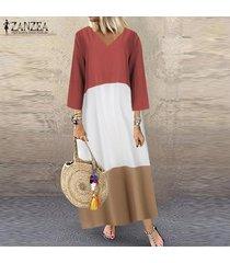 zanzea mujer de manga larga con cuello en v vestido maxi largo remiendo de cuerpo entero vestido más del tamaño -rojo