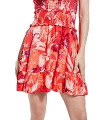 falda hw rona smocked skirt rojo guess