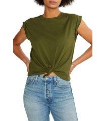 women's etica gemma tie front t-shirt, size x-small - green