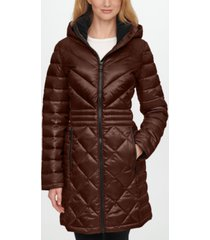 calvin klein hooded packable down puffer coat, created for macy's