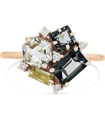 'blossom' diamond topaz peridot 14k rose gold ring