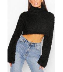 fluffy knit high neck sweater, black