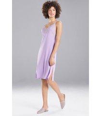 natori luxe shangri-la chemise pajamas / sleepwear / loungewear, women's, grey, size l natori