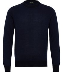 5470 - iq stickad tröja m. rund krage blå sand