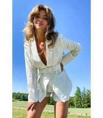 pinstripe self fabric belt blazer, white