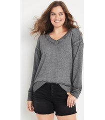 maurices womens solid v neck sweatshirt gray