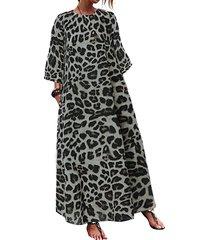 estampado leopardo redondo cuello maxi vestido