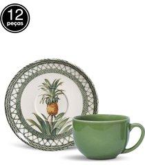 conjunto 12pçs xícaras de chá porto brasil coup pineapple branco/verde