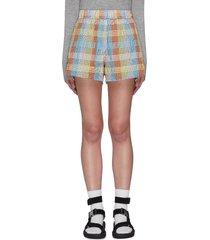 check print seersucker shorts