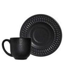conjunto c/ 6 xicaras de cafe c/ pires gabbro preto matte 65ml