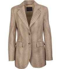 beige wool woman jacket with check pattern