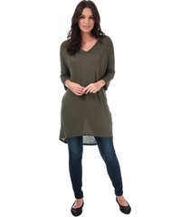 vero moda womens paya v-neck longline jersey top size 8 in green