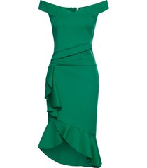 abito con spalle scoperte e volant (verde) - bodyflirt boutique