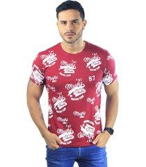 camiseta hombre manga corta slim fit vinotinto marfil denim