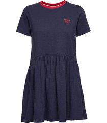 tjw contrast binding tee dress kort klänning blå tommy jeans