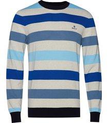 d1. multi colored stripe crew gebreide trui met ronde kraag blauw gant