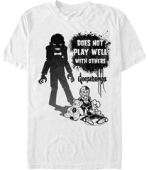 goosebumps classic sony men's slappy the dummy silhouette doesn't play well short sleeve t-shirt