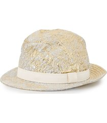dolce & gabbana metallic-finish fedora hat - neutrals