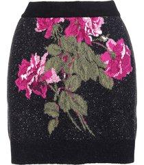 blumarine wool mini skirt with inlaid roses