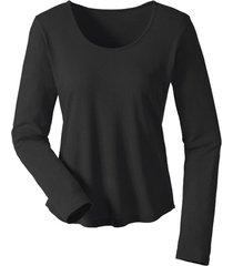 shirt met lange mouwen van bourette zijdenjersey, zwart 36/38