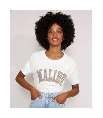 """camiseta ampla malibu"""" manga curta decote redondo off white"""""""