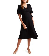 women's ingrid & isabel flutter sleeve knit wrap maternity/nursing dress, size small - black
