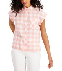 style & co petite cotton camp shirt, created for macy's