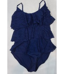 jones new york one piece sz 12 navy tiered faux tankini halter swimsuit sjct1519