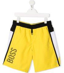 boss kidswear teen logo swim shorts - yellow