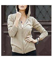 cotton blend hooded cardigan, 'simple delight in taupe' (peru)