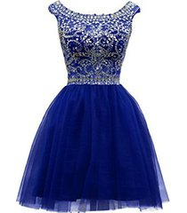blevla cap sleeves beaded short tulle cocktail party dress prom gown royal bl...