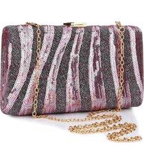 bolsa clutch liage bordada rosa - rosa - feminino - dafiti