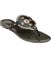 women's jack rogers georgica jelly waterproof flip flop, size 7 m - black