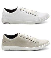 kit 2 sapatênis casual masculino estilo qualidade conforto branco/rato 44