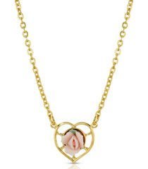 2028 14k gold-dipped porcelain rose heart necklace